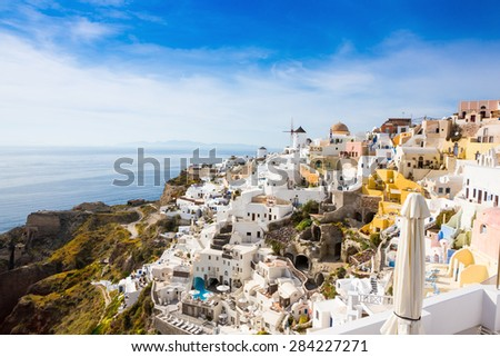 Oia town famous places of the Greek island of Santorini  - stock photo