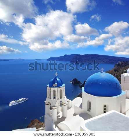 Oia village in Santorini island, Greece - stock photo