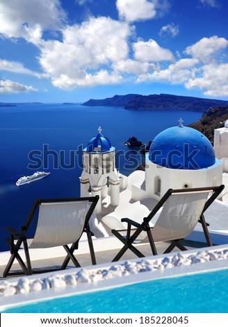 Oia village in Santorini island, Greece - stock photo