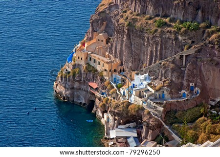 Oia village in Santorini island ,Greece. (View of the sea and the village) - stock photo