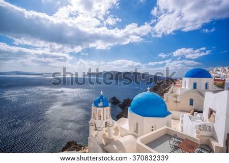 Oia village on Santorini island in Greece - stock photo
