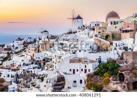 Oia village, Santorini island, Greece - stock photo
