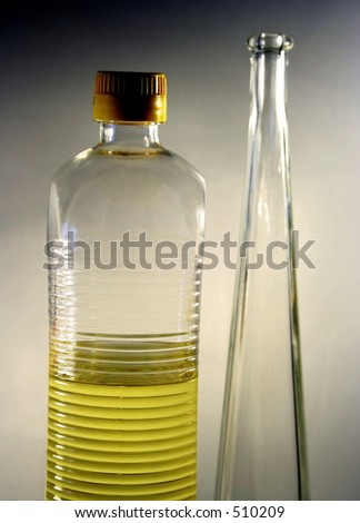 oil and bottle - stock photo
