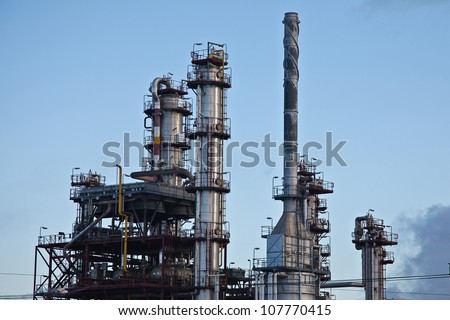 Oil and fuel production refinery - stock photo