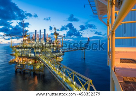 Oil and gas central processing platform in the gulf of Thailand shooting accommodation platform - stock photo