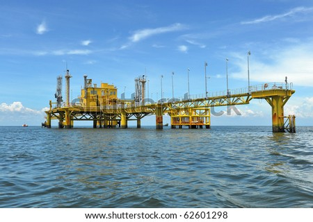 Oil and gas drilling platforms - stock photo