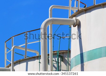 Oil and gas industrial tanks. - stock photo