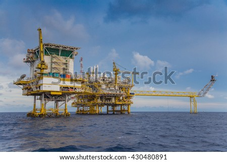 Oil and gas industry in the gulf of Thailand comprised of Living quarter or accommodation platform,oil and gas central processing platform and wellhead remote platform.