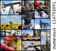 Oil And Gas Industry. Industrial collage showing workers at work on oil and gas exploration and production. - stock
