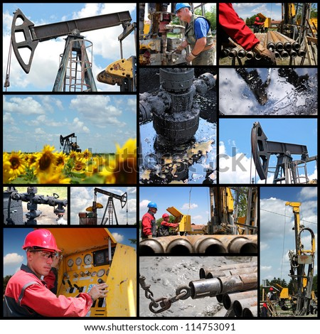 Oil And Gas Industry. Industrial collage showing workers at work on oil and gas exploration and production. - stock photo