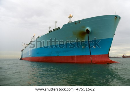 Oil and gas industry- liquefied natural gas tanker LNG - stock photo