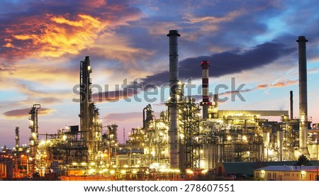 Oil and gas industry - refinery at twilight - factory - stock photo
