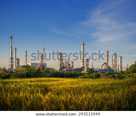 Oil and gas industry - refinery - factory - petrochemical plant - stock photo