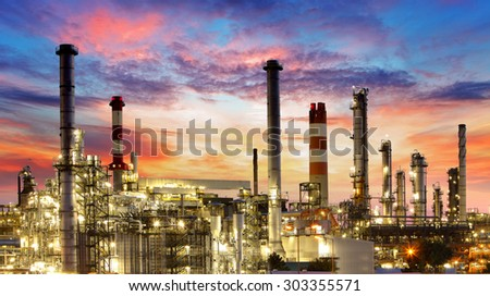 Oil and gas industry - refinery, factory, petrochemical plant - stock photo