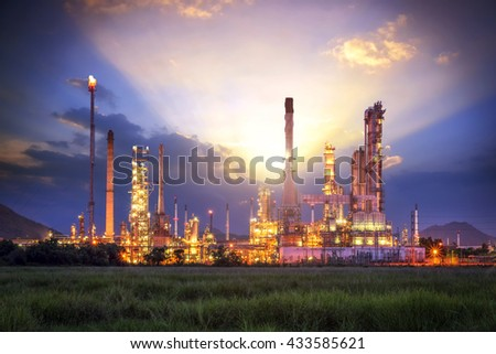 Oil and gas industry - refinery factory - petrochemical plant - stock photo