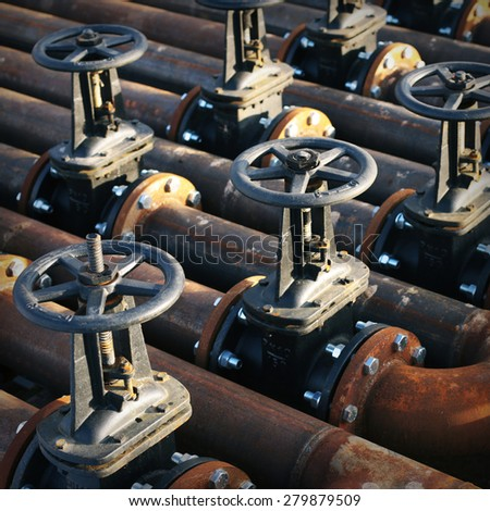 Oil and gas pipe line and valves - stock photo