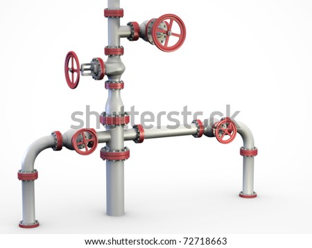 "Oil and gas pipe system also known as a ""Christmas tree"" Wellhead. - stock photo"