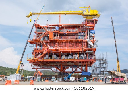 Oil and gas platform during construction - stock photo