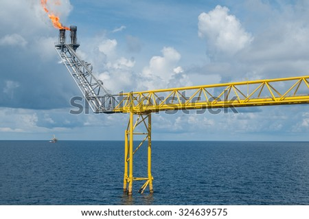 Oil and gas platform in the gulf or the sea,  - stock photo