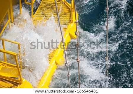 Oil and gas platform in the gulf or the sea, The world energy, Offshore oil and rig construction.-Oil and Gas Industry, Bad weather in offshore oil and gas industry. - stock photo