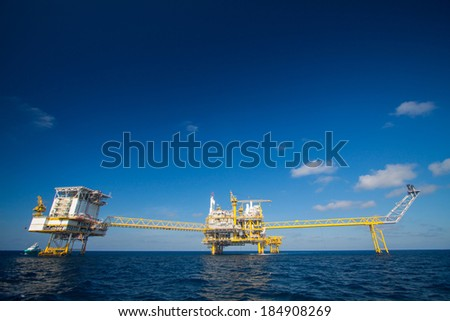 Oil and gas platform in the gulf or the sea, The world energy, Offshore oil and rig construction. - stock photo