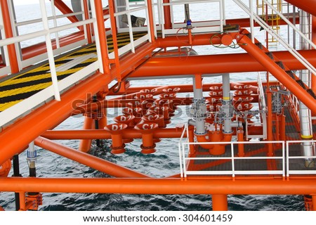 Oil and Gas Producing Slots at Offshore Platform, Oil and Gas Industry. Well head slot on the platform or rig. Production and Explorer industry. - stock photo
