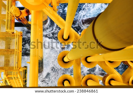 Oil and Gas Producing Slots at Offshore Platform, The platform on bad weather condition.,Oil and Gas Industry - stock photo