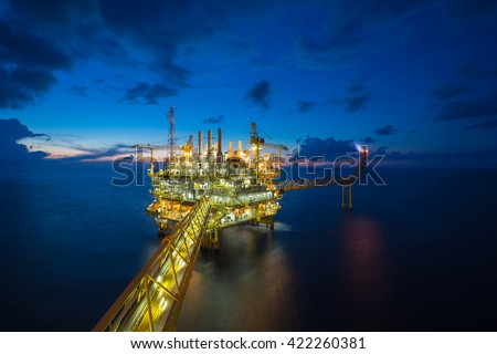 Oil and gas production platform, Petroleum  production and exploration business. - stock photo
