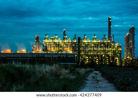 Oil and gas refinery industry plant in the twilight time. - stock photo