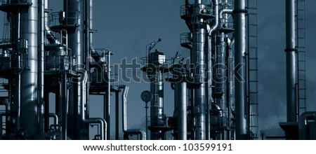 oil and gas refinery, panoramic view, duplex dark blue toning idea - stock photo