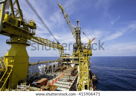 Oil and Gas Rig in offshore - stock photo