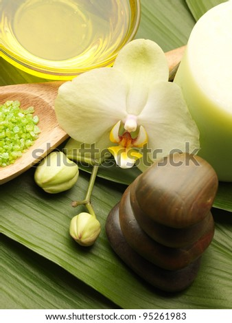 oil and orchid with green leaf on black