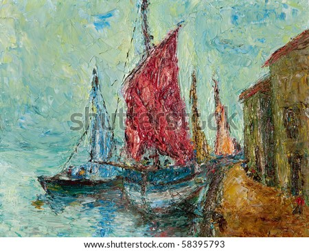 Oil and palette knife abstract painting of an old Mediterranean seaport. - stock photo