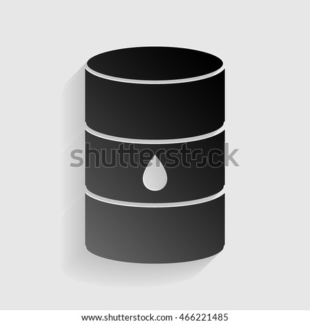 Oil barrel sign. Black paper with shadow on gray background.