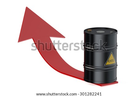 Oil barrel with arrow isolated on white background - stock photo