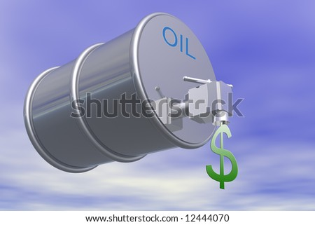 Oil barrel with dollar sign and valve - stock photo