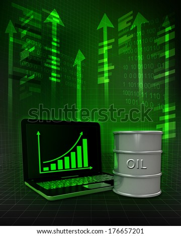 oil barrel with positive online results in business illustration - stock photo