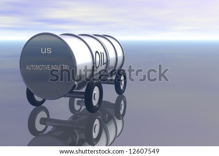 Oil barrel with wheels and USA automotive industry on back - stock photo