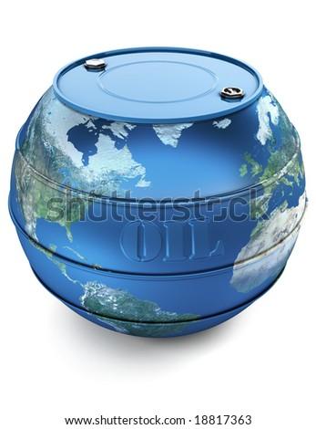 Oil barrel world - stock photo