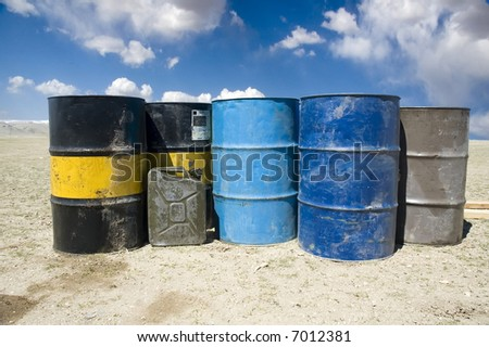 oil barrels in Gobi Desert - stock photo