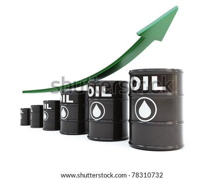 Oil barrels with arrow - stock photo