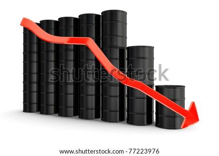 Oil barrels with decreasing arrow - stock photo