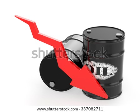 Oil Barrels with Red Arrow down. Financial crisis - stock photo