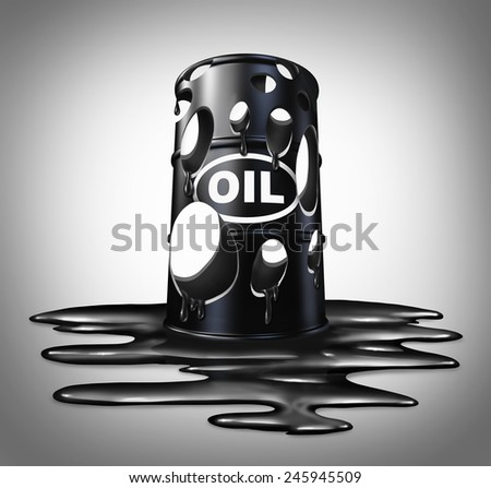 Oil collapse industry concept as a barrel full of holes of crude petroleum with liquid spilled on the floor as a business metaphor for energy price drop. - stock photo