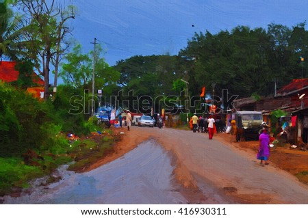 Oil Color Painting of village road