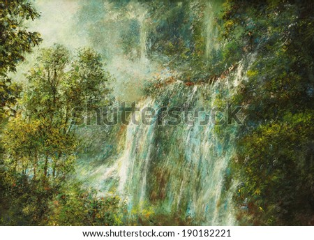 Oil color painting on canvas, Picture of waterfall and forest in Thailand. - stock photo