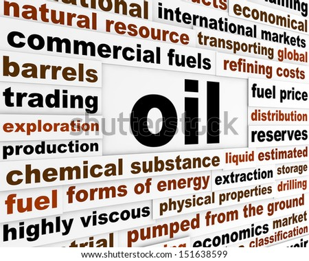 Oil commercial fuel poster. Forms of energy industrial background - stock photo