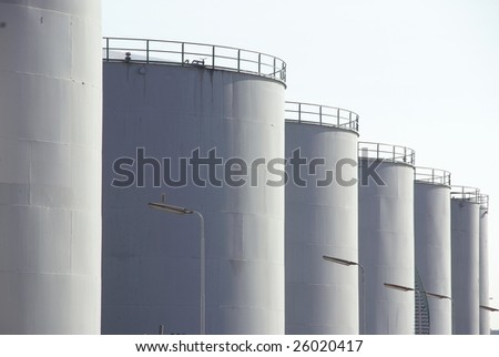 Oil containers at a refinery