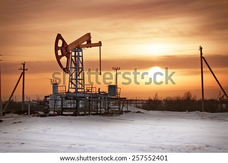 oil derrick - stock photo