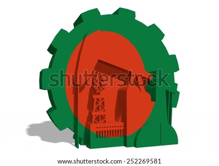 oil derrick, gas rig, factory 3d icons and gear textured by bangladesh national flag - stock photo